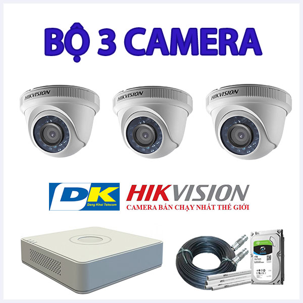 Bộ 3 camera dom hikvision 2mp