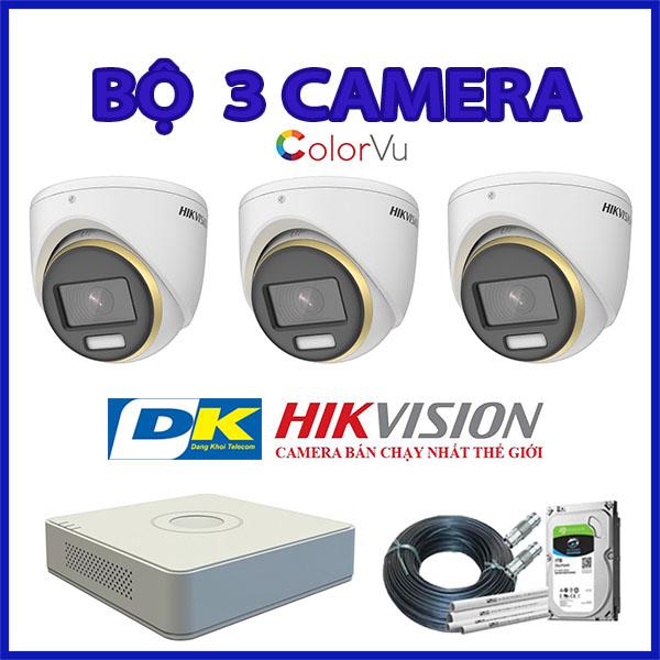 bộ 3 camera hikvision có màu ban dêm