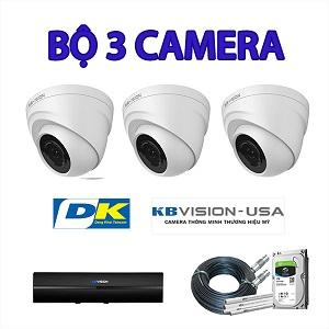 Lắp đặt trọn bộ 3 camera giám sát 2.0MP Kbvision thương hiệu Mỹ