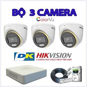 Trọn bộ 3 mắt camera Hikvision 2.0mp có màu ban đêm thu âm thanh